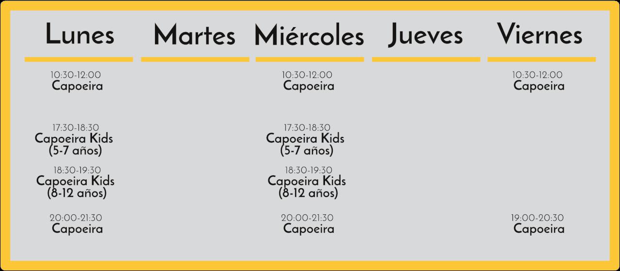 Horarios Capoeira Barcelona